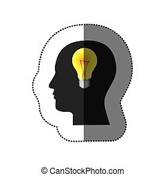 sticker color human face silhouette with bulb light in mind