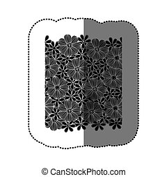 sticker black pattern with white contour flowers set