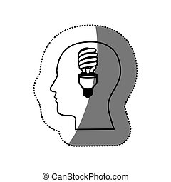 sticker black contour human face with fluorescent bulb in mind