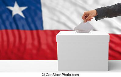 Voter on a Chile flag background. 3d illustration - Voter on...