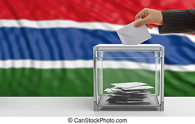 Voter on a Gambia flag background. 3d illustration - Voter...