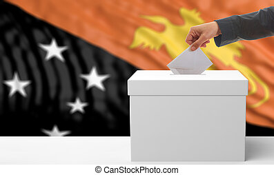 Voter on a Papua New Guinea flag background. 3d illustration...