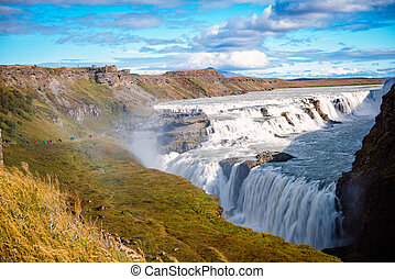 Gulfoss in summer - Huge carving of landscape by the Gulfoss...