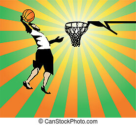 Basketball sportsman in the game win. Vector