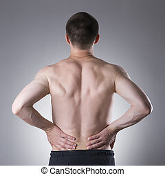Kidney pain, man with backache, ache in the man's body