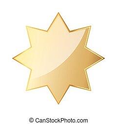 Golden octagonal star icon. Vector illustration. Glossy...