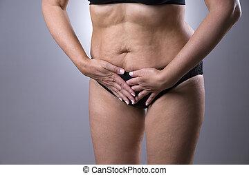 menstrual, mujer, Estómago, dolor, cystitis, dolor,...