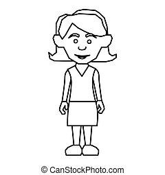 sketch silhouette teenager with short hair and skirt