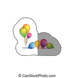 sticker set flying balloons with serpentine on the floor
