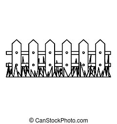 silhouette wooden fence and grass icon vector illustration