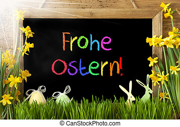 Sunny Narcissus, Egg, Bunny, Colorful Frohe Ostern Means...