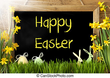 Sunny Narcissus, Egg, Bunny, Text Happy Easter - Blackboard...