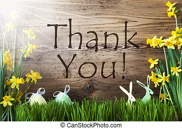 Sunny Easter Decoration, Gras, Englisch Text Thank You -...