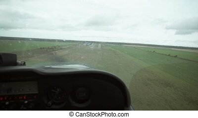 Aircraft landing view from cabin shot