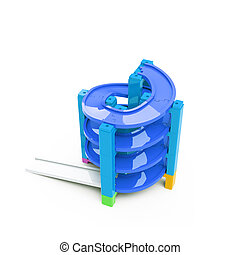 Spiral track in stacking blocks, 3D illustration - Blue...