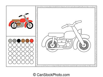 adult coloring book page with colored template, decorative frame and color swatch - vector black and white contour picture - retro motorbike