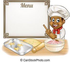 Black Baker or Pastry Chef Menu Sign - Black baker or pastry...