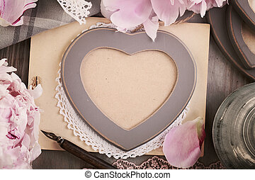 Vintage Heart Frame on Retro Background with Peony Flowers and Lace