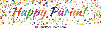 Vector Web Banner Happy Purim carnival text with colorful...