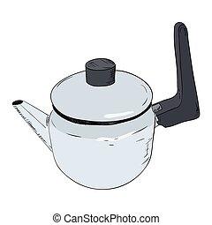 Vector color sketch illustration of kettle