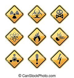 Set of warning hazard signs. Vector illustration.