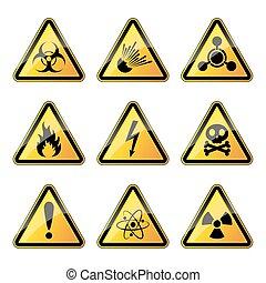 Set of warning danger signs. Vector illustration.