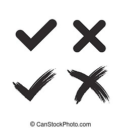 Tick cross mark signs - Tick and cross grunge and simple...