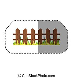 sticker colorful picture wooden fence and grass design...