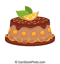 Chocolate cake torte with orange topping vector template...