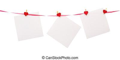papel, corazón,  Clothespin, pedazos, formado