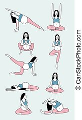 Set of yoga poses for pregnant woman. Girl in different asanas. Hand drawn vector illustration.