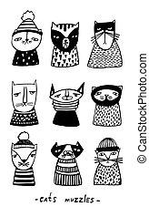 Set with cartoon cats muzzles. Hand drawn doodle kitty collection on white background. Vector illustration.