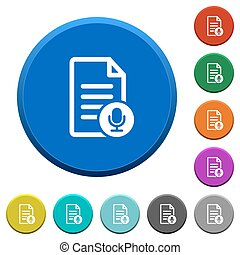 Voice document beveled buttons - Voice document round color...