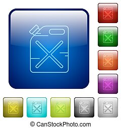 Gas can color square buttons - Gas can icons in rounded...