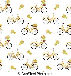 Yellow retro bicycle with tulips in floral basket and on...