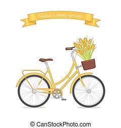 Yellow retro bicycle with tulip bouquet in floral basket....