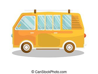 Camping yellow bus isolated on white background....