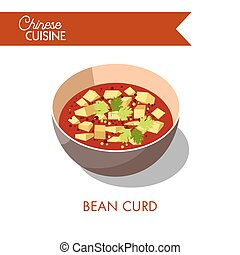 Bean curd in bowl isolated on white. Soup with tofu - Bean...