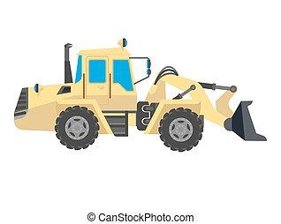 Bulldozer modern model isolated on white background. Vector...