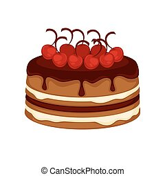 Chocolate cake torte with cherry topping vector template...