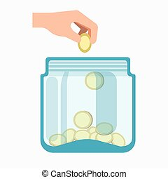 Glass jar and hand dropping coins into it isolated on white...