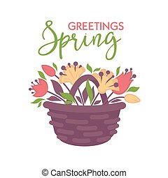 Spring greeting vector card with basket of flowers