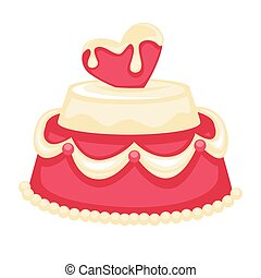 Wedding cake with pink heart bridal decor vector template...