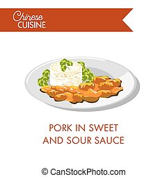 Pork in sweet and sour sauce on plate isolated on white....