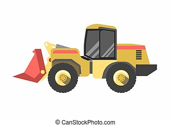 Tractor excavator modern model isolated on white background....