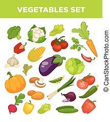 Vegetables and veggies vegetarian icons set - Vegetables set...
