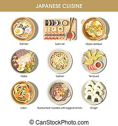 Japanese cuisine traditional dishes flat icons set -...