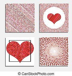Set of four backgrounds with red hearts.