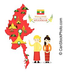 Myanmar Map and Landmarks with People in Traditional...