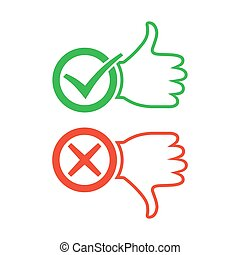 I like and dislike signs. Vector illustration